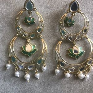 Handcrafted Golden Green Party Earrings